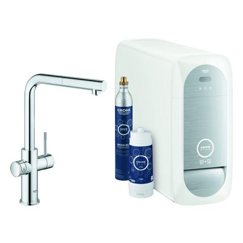 Grohe Blue Home Starter Kit 31539 auszb. Mousseur Bluetooth/WIFI L-Auslauf chrom, 31539000
