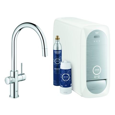 Grohe Blue Home Starter Kit 31541 auszb. Mousseur Bluetooth/WIFI C-Auslauf chrom, 31541000
