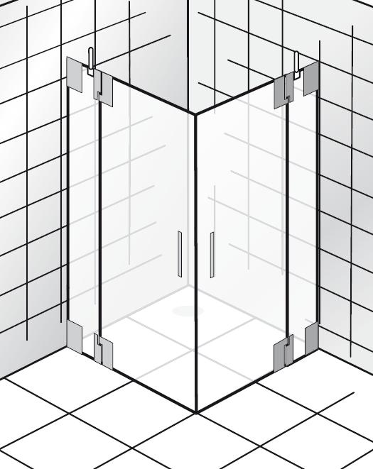 HSK K2.26 Eckeinstieg, 2 Drehtüren an Nebenteilen K2.26 ja nein bis max. 1000 mm nein nein Echtglas klar hell bis max. 2000 mm Stangengriff K2 groß (390 mm)