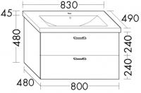 Burgbad Keramik-Waschtisch und Waschtischunterschrank Sys30 PG2 Weiß Hochglanz/Alpinweiss, SFAW08346