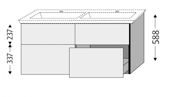 Sanipa 3way Waschtischunterschrank mit Auszügen BR81515, Ulme Natural-Touch