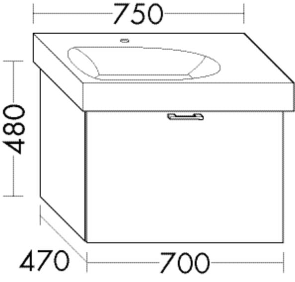 Burgbad Waschtischunterschrank Sys30 PG4 480x700x470 Schilf Hochglanz, WUVB070F3362