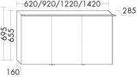 Burgbad Cala 2.0 Spiegelschrank SEPX092, B:920, T:285, H:695mm, Preisgruppe 1