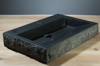 Palermo Waschbecken, B: 600, T: 400, H: 100 mm, Material: basalt G684, aussen rau