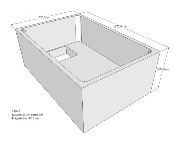 Neuesbad Wannenträger für Bette tief 120x80x28