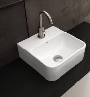 Axa one Serie Normal Waschtisch mit 1 Hahnloch, B: 350, T: 350 mm, weiss glänzend