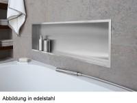ESS BOX 10 Edelstahl gebürstet Wandnische 120x30x10 cm mit Rahmen Poliert, inkl. Rohbauset, BOX-120x