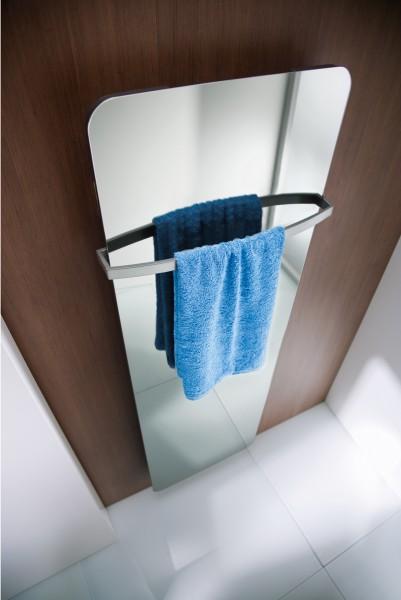HSK Design-Heizkörper Softcube mit Spiegelfront klar, 570 x 1800 mm, Korpus: weiss matt