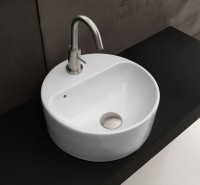 Axa one Serie Normal Aufsatzwaschtisch mit 1 Hahnloch, B: 350 T: 350 mm, weiss glänzend