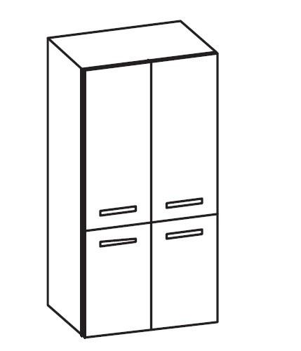 Artiqua 400 Midischrank, Weiß Glanz, 400-MTT-1-60-7050-68