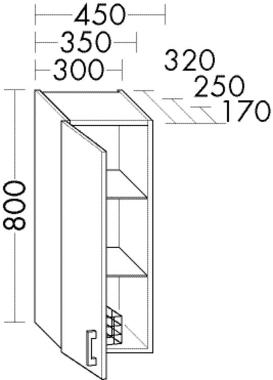 Image of Burgbad Hängeschrank Sys30 PG3 800x300x320 Schilf Matt, H3040LF3354 H3040LF3354