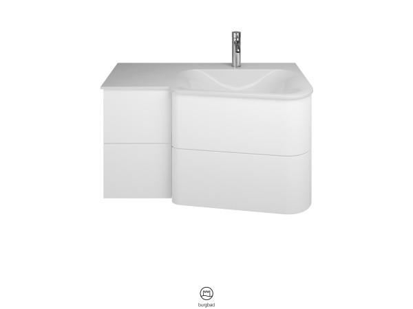 Burgbad Mineralguss-Waschtisch und Unterschrank Badu, Weiß Matt/Alpinweiss