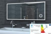 Neuesbad LED Lichtspiegel, Uhr, Schminkspiegel, Touch Schalter, B:1400, H:600 mm