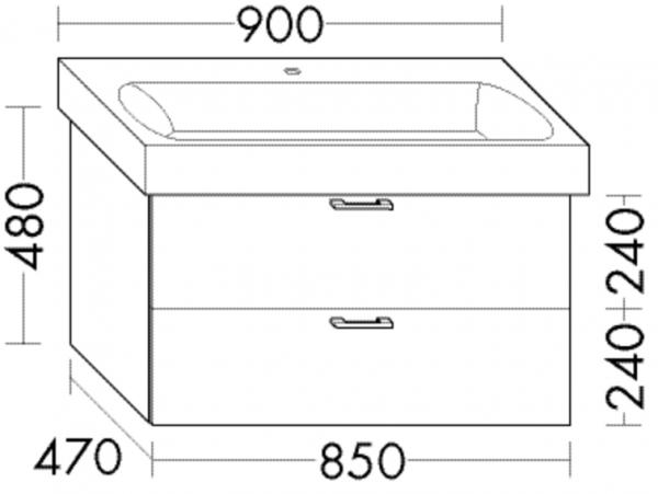 Burgbad Waschtischunterschrank Sys30 PG4 480x850x470 Sand Hochglanz, WUVC085F3360