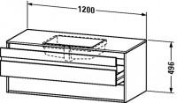 Duravit Waschtischunterschrank wandhängend Ketho T:550, B:1200, H:496mm, KT6856 , Front/Korpus: pine