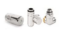 Terma Winkeleck-Thermostatventil Set mit T-Stück für Mischbetrieb, links, chrom