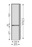 Sanipa Hochschrank links Twiga Glas, SY10014 Pinie-Grau