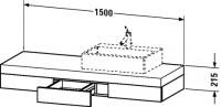 Duravit Konsole mit Schubkasten Fogo T:550, B:1500, H:215mm, FO85290