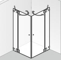 HSK Kienle K.26 Eckeinstieg, 2 Drehtüren mit 180°-Beschlag an Nebenteilen