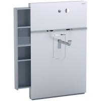 Geberit Monolith Sanitärmodul für wandhängend Waschtisch und Wand-Arm.11re Auszug li Glas weiß