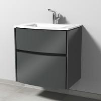 Sanipa TwigaGlas Waschtischunterbau mit Glas-Waschtisch und 2 Auszügen, Anthrazit-Glanz, SY22279