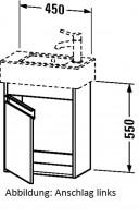 Duravit Waschtischunterschrank wandhängend Ketho T:225, B:450, H:550mm, KT6629L , Front/Korpus: pine
