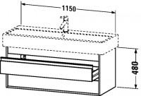 Duravit Waschtischunterschrank wandhängend Ketho T:440, B:1150, H:480mm, KT6639