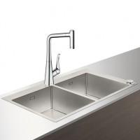 Hansgrohe Select Spülencombi 370 x 370 edelstahl-optik C71-F765-05 ST, 43211800