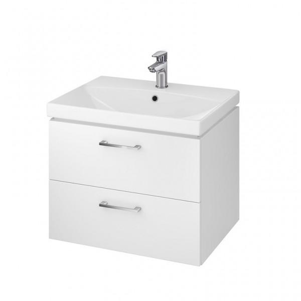 Neuesbad Serie 50 Waschtisch-Set 60cm, Keramikwaschtisch mit Unterschrank, weiss