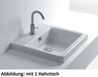 Axa one Hox Einbauwaschtisch, B: 480, T: 480 mm, weiss, mit 3 Hahnlöchern