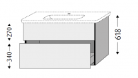 Sanipa 3way Waschtischunterschrank mit Auszügen  BR63214, Pinie-Grau