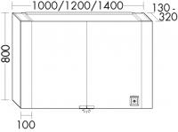 Burgbad Spiegelschrank RL40 Matt 800x1400x130-320 Weiß Matt, SS268_BR1400LF4800
