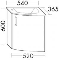 Burgbad Cala 2.0 Waschtisch-Set SEPZ054, B:540, T:365, H:600mm, Preisgruppe 1