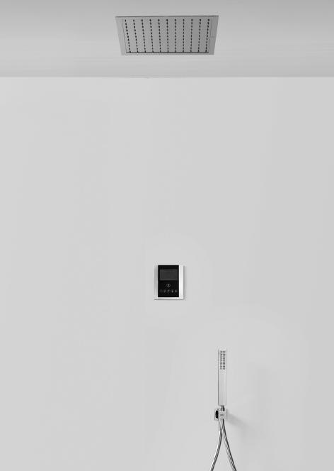 tres elektronisches thermostat brauseset mit deckenbrause 330 x 330 mm. Black Bedroom Furniture Sets. Home Design Ideas