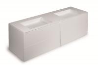 Cosmic Block Schrank 4 Schubladen mit 2 Waschtischen matt Ohne Hahnloch,B:1600, H:520, T:500 mm