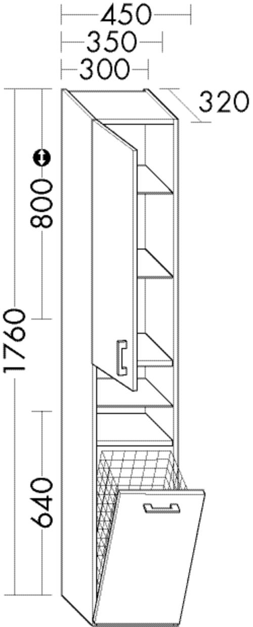Image of Burgbad Hochschrank Sys30 PG4 1760x450x320 Schilf Hochglanz, HS4542LF3362 HS4542LF3362