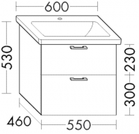 Burgbad Waschtischunterschrank zu Keramikwaschtisch Sys30 PG2 601x550x460 Weiß Hochglanz, WVMV055461