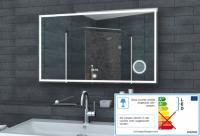 Neuesbad LED Lichtspiegel, Uhr, Schminkspiegel, Touch Schalter, B:1000, H:600 mm