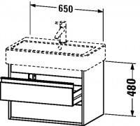 Duravit Waschtischunterschrank wandhängend Ketho T:440, B:650, H:480mm, KT66240 , Front/Korpus: terr