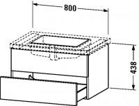 Duravit Waschtischunterschrank wandhängend Delos T:565, B:800, H:438mm, DL68990