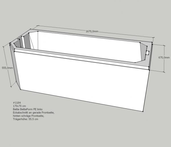 Neuesbad Wannenträger für Bette Profi-Form 170x70 Fußende li