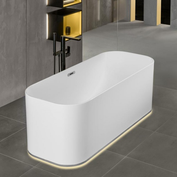 Villeroy & Boch Badewanne Finion Design-Ring Emotion-Funktion verchromt  White Alpin, 177FIN7A100V101