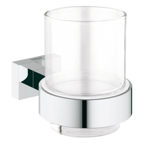 Grohe Glas mit Halter Essentials Cube 40755 chrom, 40755001