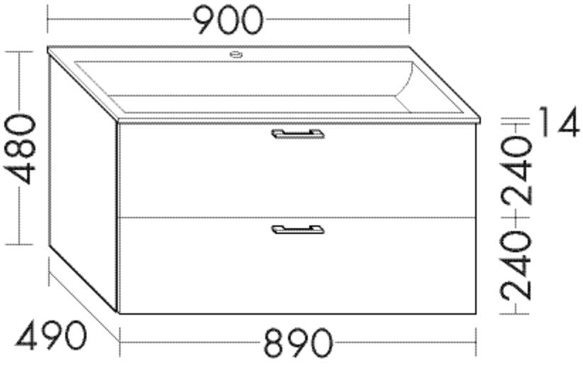 Image of Burgbad Waschtischunterschrank Sys30 PG2 480x890x480 Weiß Hochglanz Rahmen, WVAM089F2223 WVAM089F2223