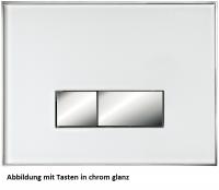 Neuesbad Betätigungsplatte mit eckigen Tasten, Glas, Farbe: Weiss, Tasten: chrom glanz