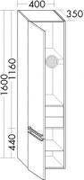Burgbad Hochschrank Bell HGL 1600x400x350 Weiß Hochglänzend, HSGU040LF0590