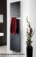 HSK Badheizkörper Atelier 477 x 1800 mm, Mittelanschluss, Farbe: ebony (schwarz matt)