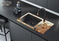 Neuesbad 8mm Glas-Granit-Spüle, 1 Schüssel mit Abtropffläche - Zerokante