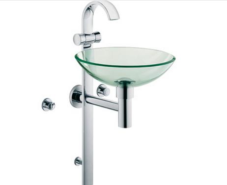 Waschtischsäule für Gäste-WC JOOFeinbauset chrom/Glas/transparent 55115D1