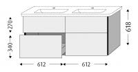 Sanipa Waschtischunterschrank mit Auszügen 3way BR63414, Pinie-Grau